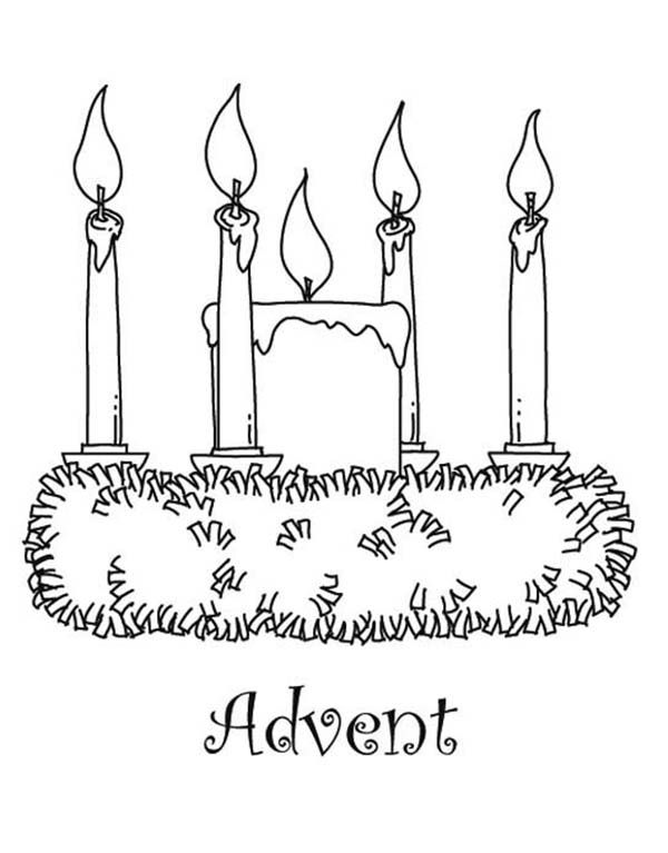An Acolyte Lighting Advent Candles Coloring Pages Advent Coloring Printable Coloring Pages Wreath Printable