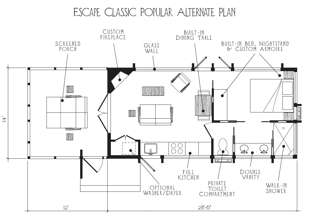 Escape Classic Plans And Pricing Tiny House Floor Plans Tiny House Blog House In The Woods