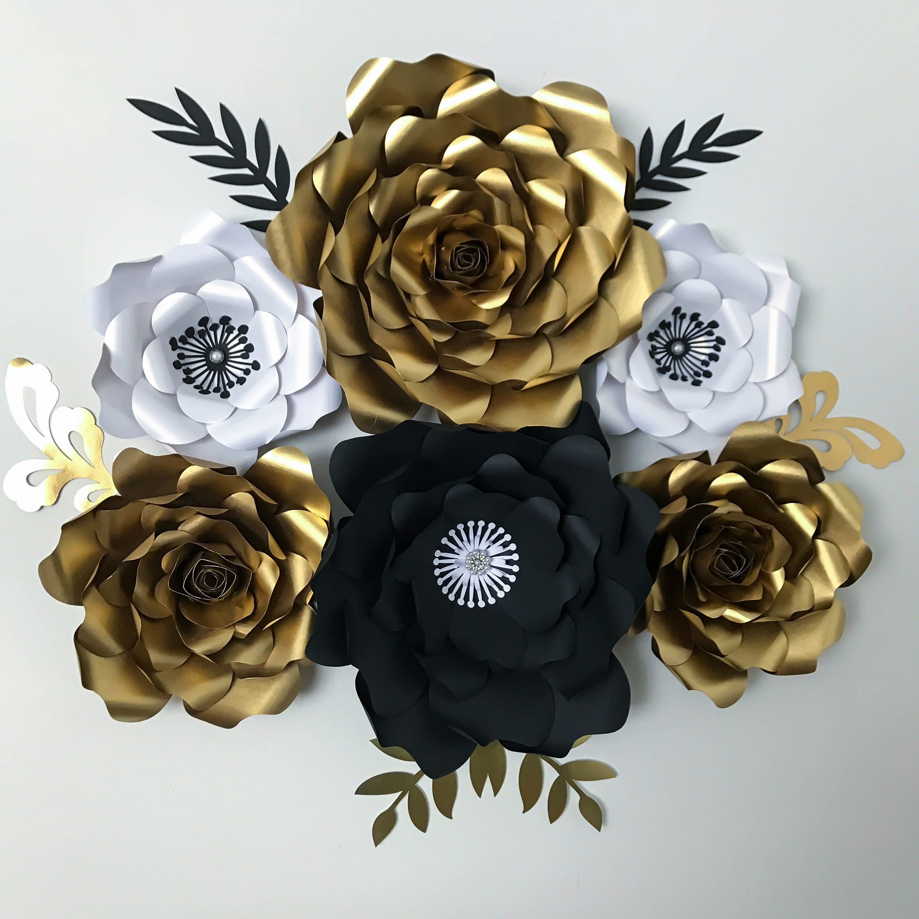 Gold White And Black Paper Flower Set For A Great Gatsby Event