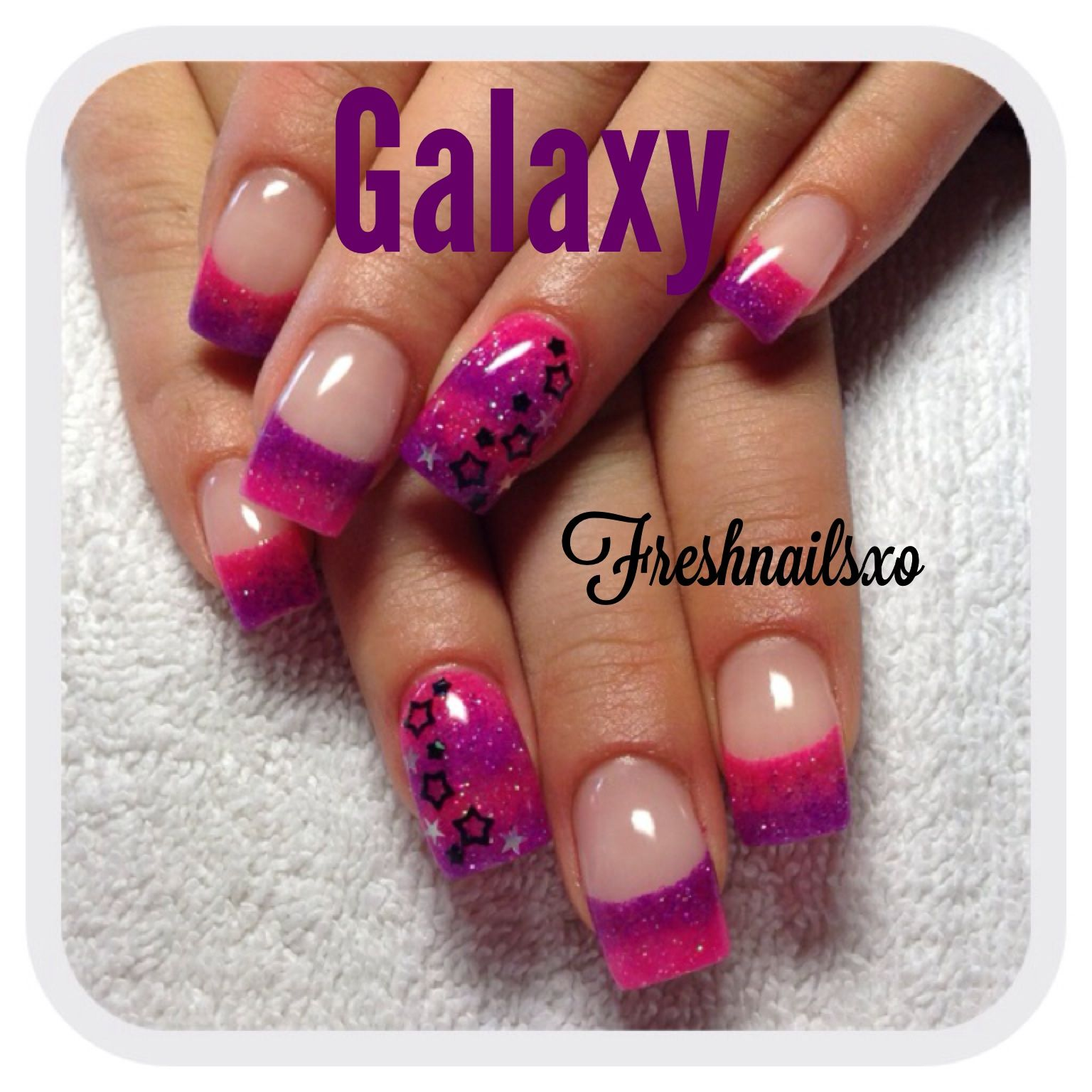 Neon pink | neon purple | stars | galaxy nails | gel nails | nails ...