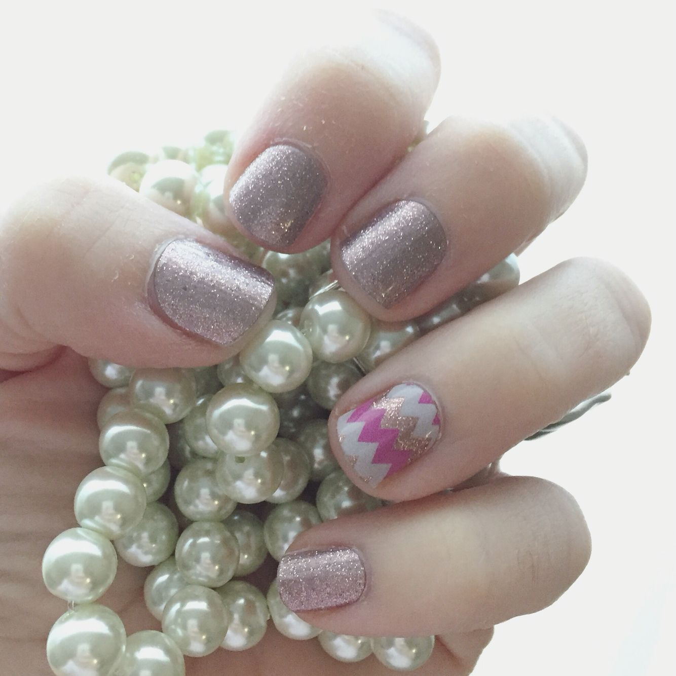 Classy mani made easy by Jamberry - Rose Gold Sparkle with a ...