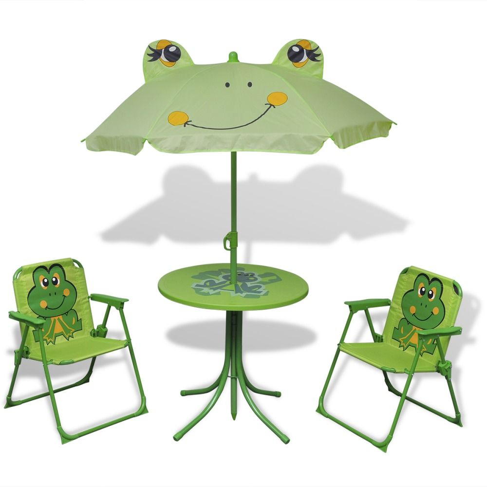 kids table chairs set green frog outdoor garden camping furniture play umbrella