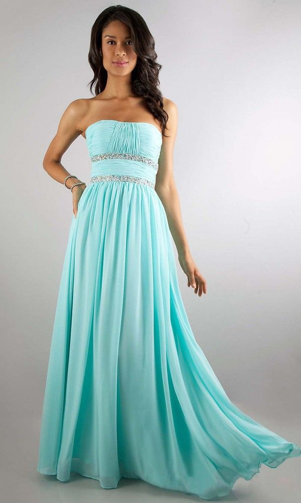 2014 tiffany blue long chiffon prom dress with crystals | Cheap prom ...