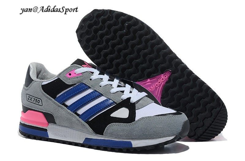 Mens Adidas Originals ZX 750 running shoe Wolf Grey/Black/White/Royal Blue