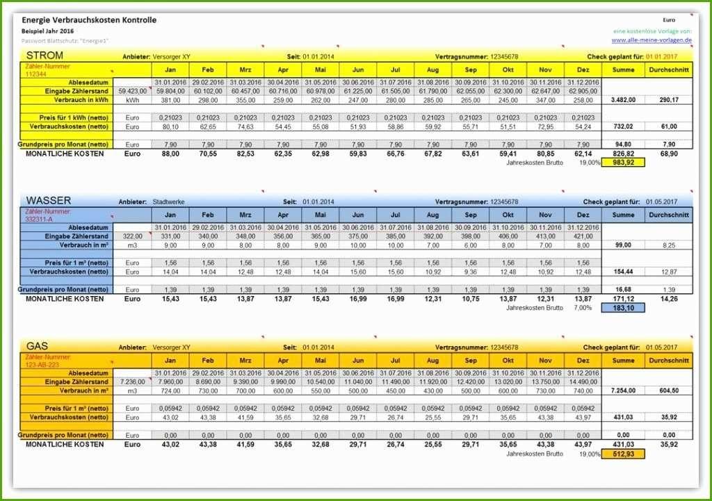 Zahlerstande Excel Vorlage Neu Energie Verbrauchskosten Kontrolle Excel Vorlage Excel Tipps Vorlagen