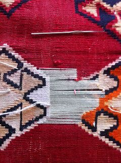 Kosker Traditional Rug Repair: Persian kilim restoration - in process and final result