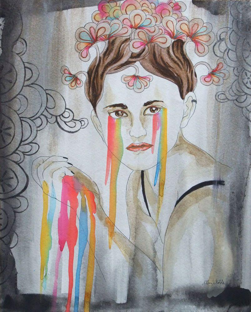 Original watercolor art for sale - Sale Flowers Glitter Fashion Rainbow Paint Drip Tears 11x14 Original Watercolor Surrealism By Allise Noble