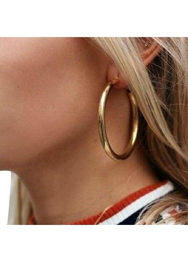 Gold Metal Circle Shape Earrings for Lady