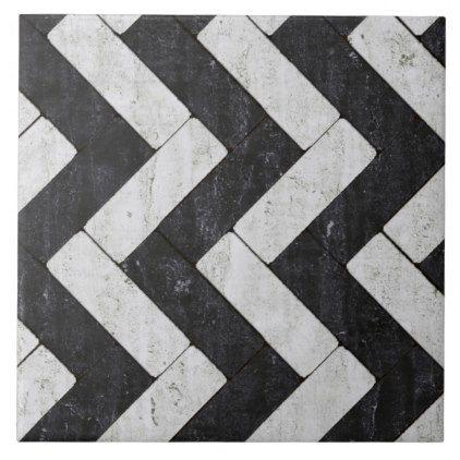 Zig Zag White And Black Brick Pavers Tile Zazzle Com