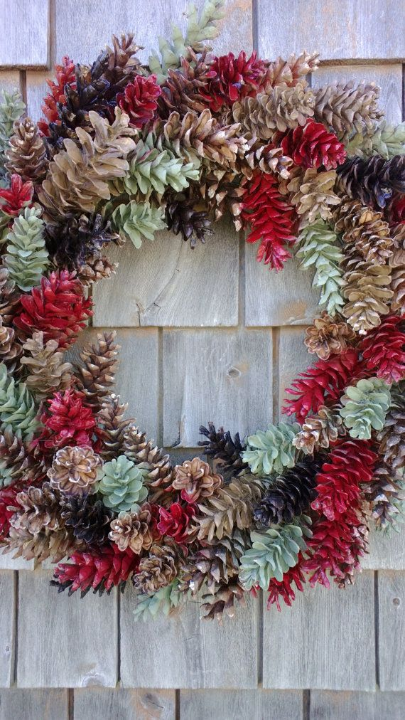 Christmas wreath large rustic pinecone wreath red by for Large christmas pine cones