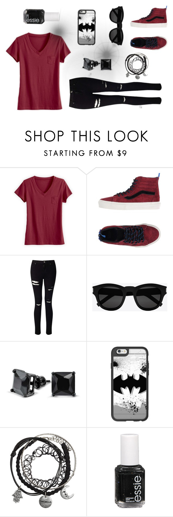 """Does it come in black?  ~Julia"" by limedream ❤ liked on Polyvore featuring Vans, Miss Selfridge, Yves Saint Laurent, Bling Jewelry, Casetify, Essie, black, red, batman and redandblack"