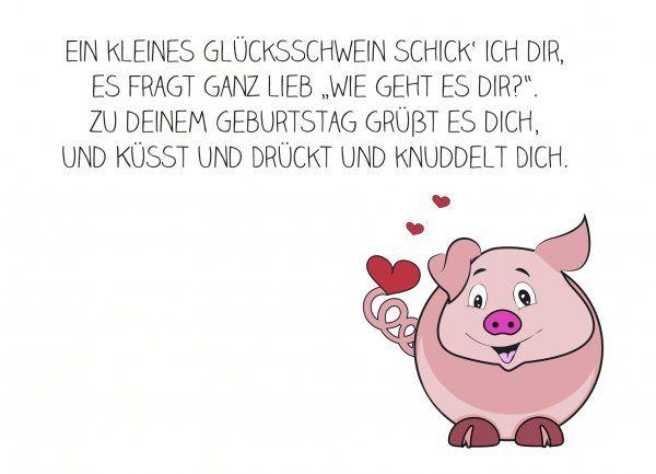 Geburtstagskarte mit Glücksschweinchen und einem lieben Spruch ...