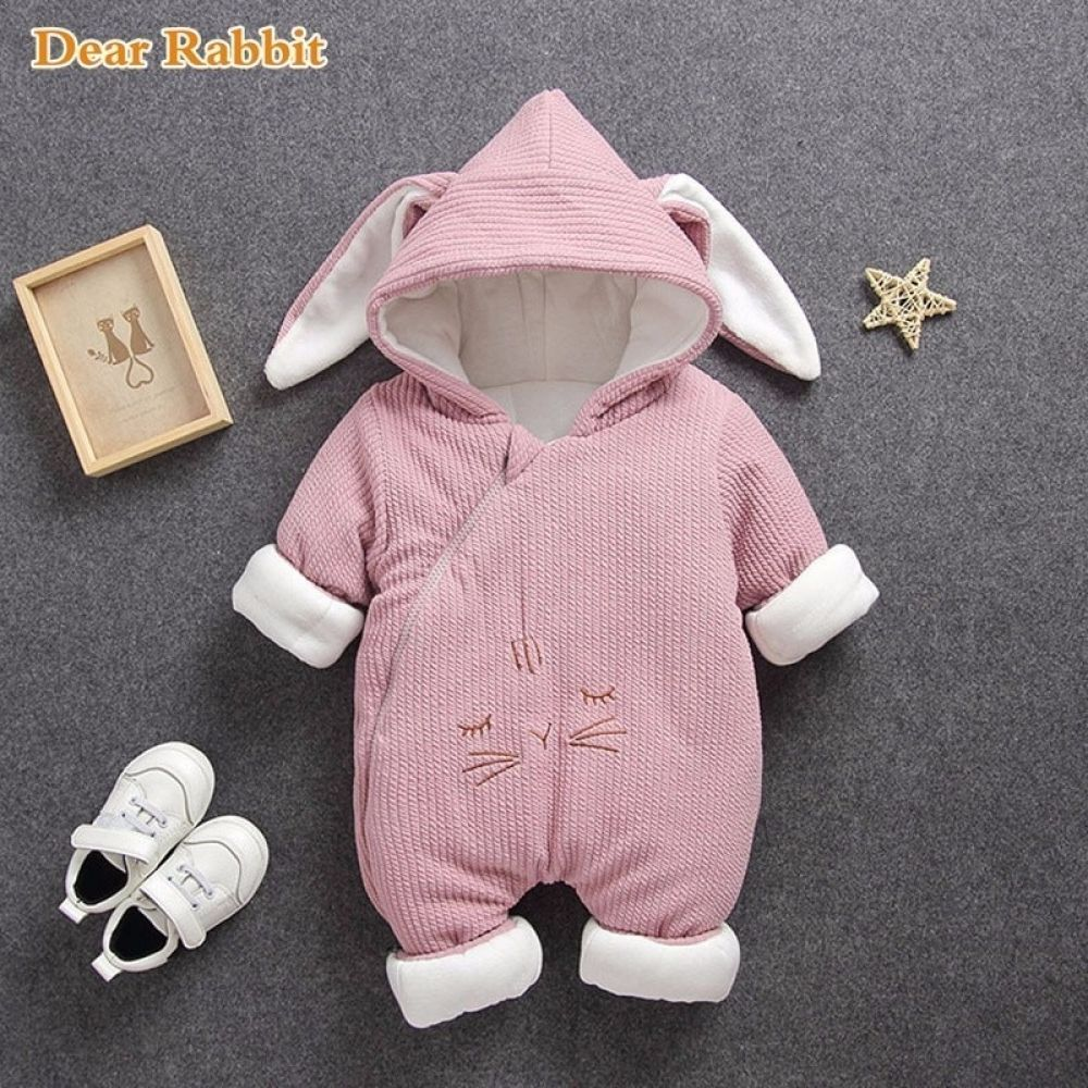 Newborn Infant Girl Winter Warm Outerwear Hooded Coat Cotton Jacket Kids Sweater