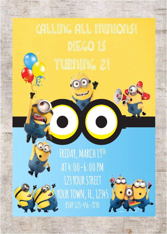 minions birthday invitation digital
