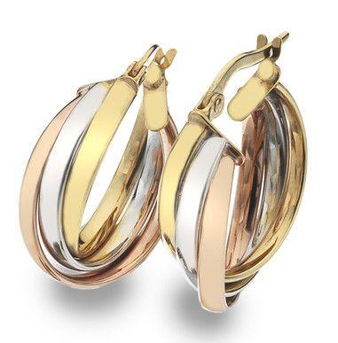 9ct 3 colour Creole Earrings