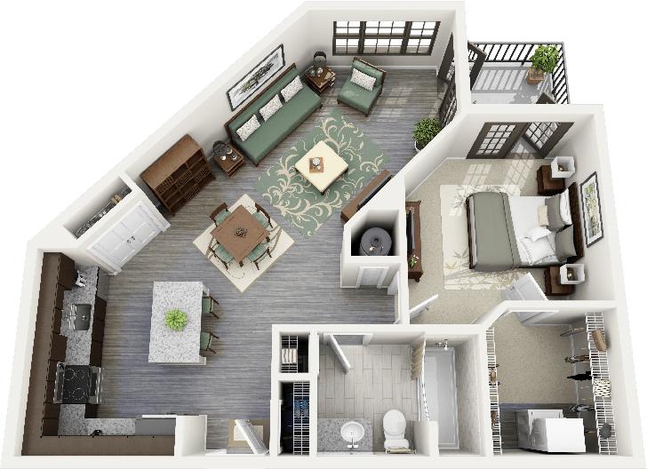50 one 1 bedroom apartment house plans studio for Studio apartment design 3d