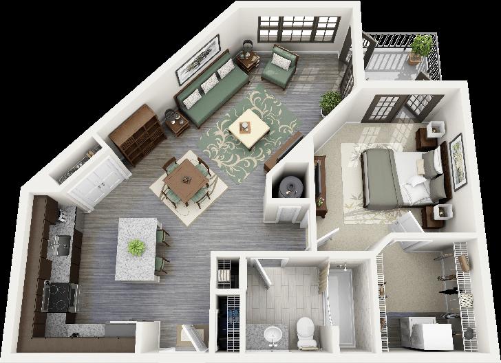 50 One 1 Bedroom Apartment House Plans Studio Apartment Floor