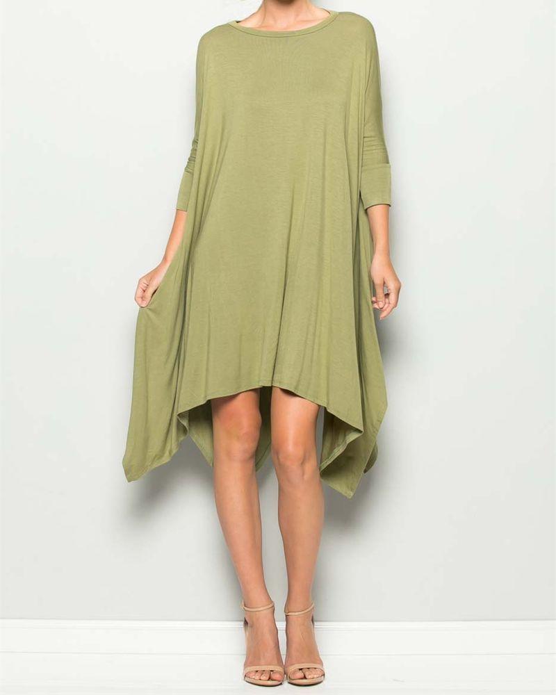 Artist dress lagenlook tunic green artsy hanky USA reuse 4 planet sz