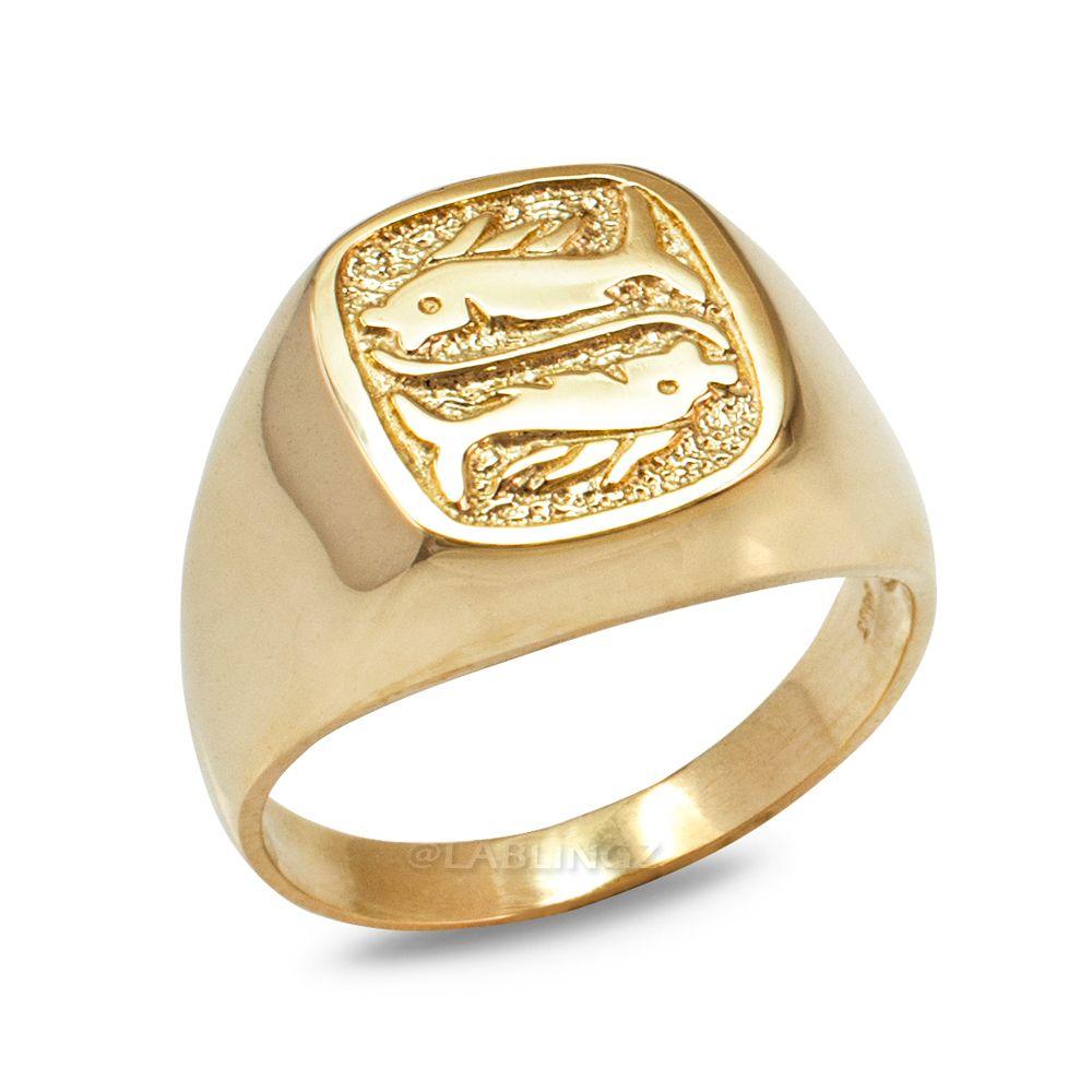 LA BLINGZ 10K Yellow Gold Open Design Pisces Zodiac Charm Necklace
