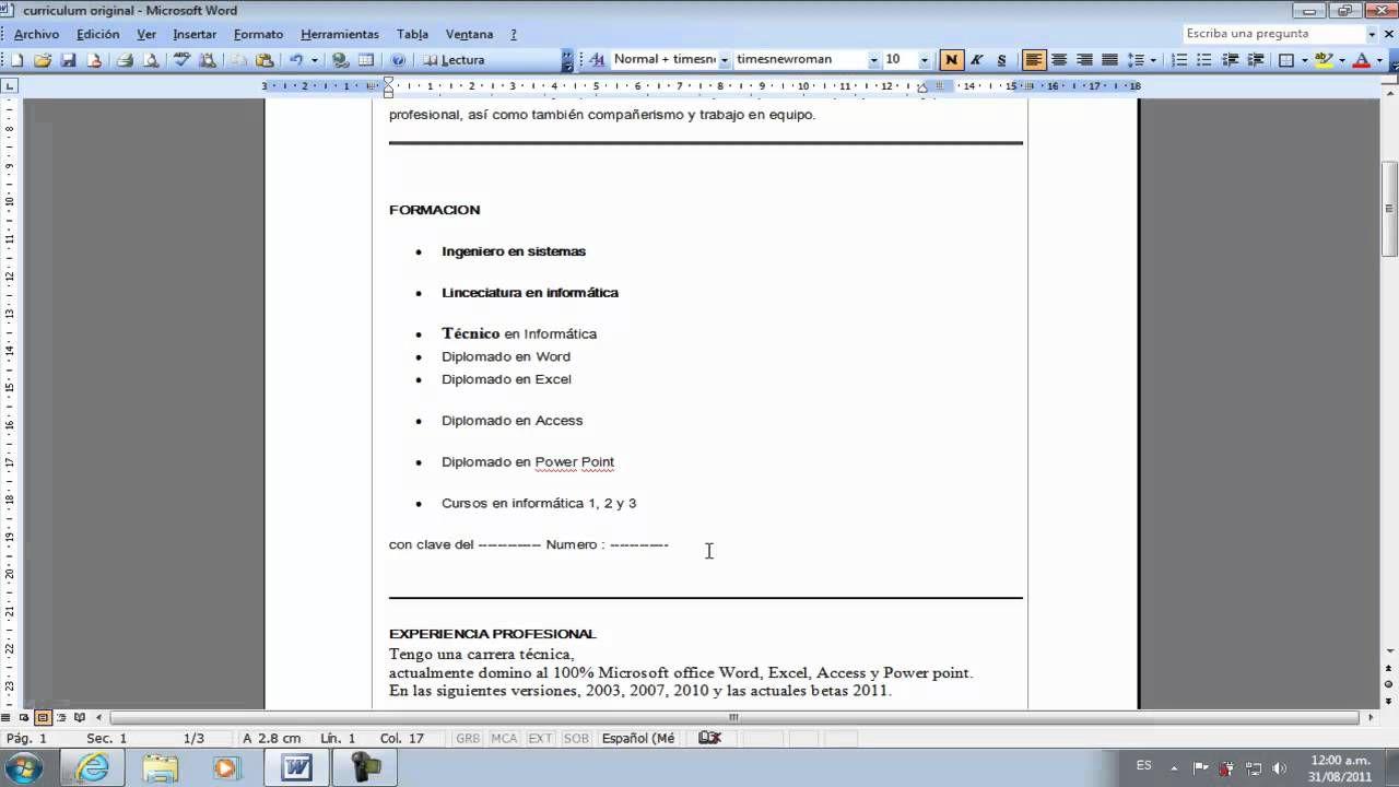 Como hacer y elaborar un curriculum vitae 2015 Facil, Rapido y ...