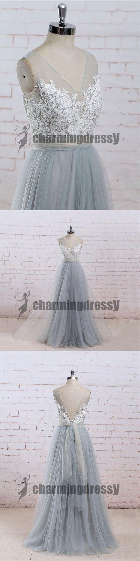Vneck lace tulle sleeveless prom dresses custom popular new