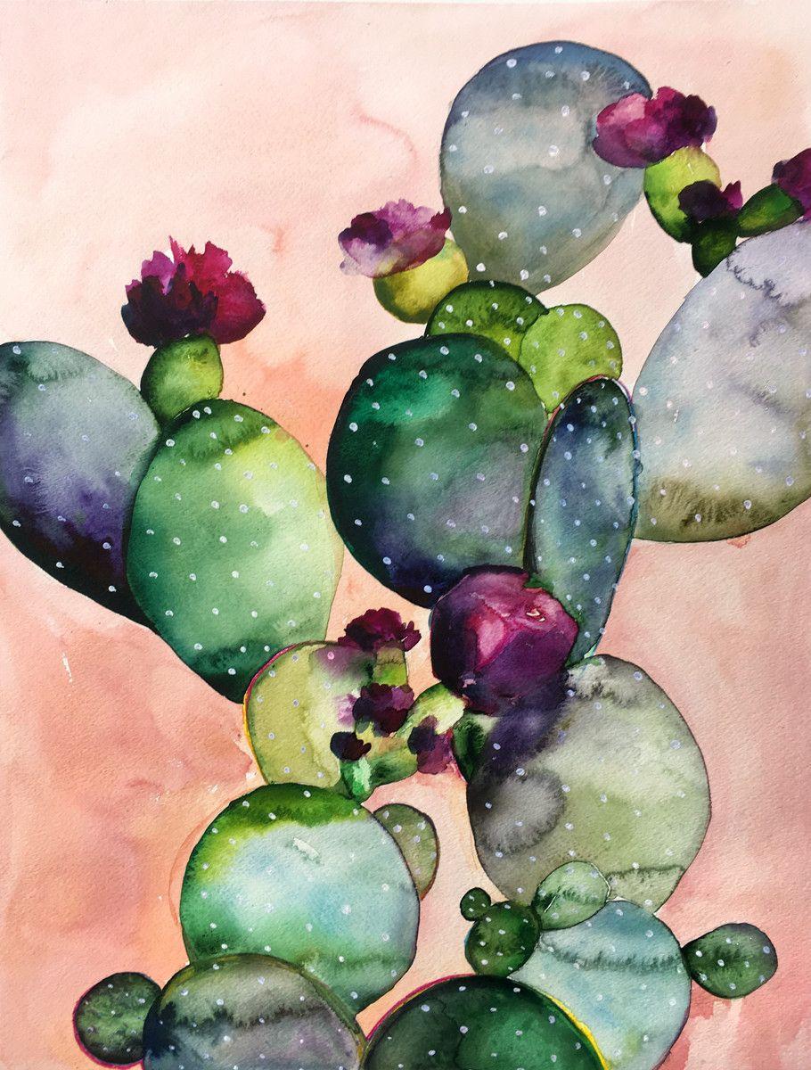 Desert Rose Ii Art Print Watercolor Art Art Cactus Art