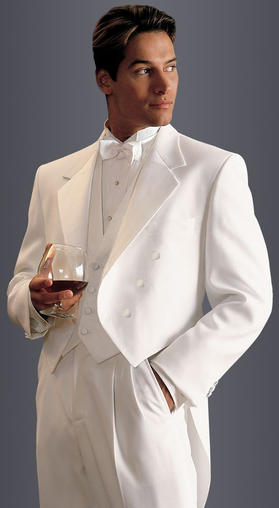 e284ce774c0 White Full Dress Tail Coat in classic fit, 6-button notch lapel. Available  at #FriarTux