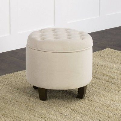 Tremendous Velvet Tufted Round Ottoman With Storage Cream Ivory Machost Co Dining Chair Design Ideas Machostcouk