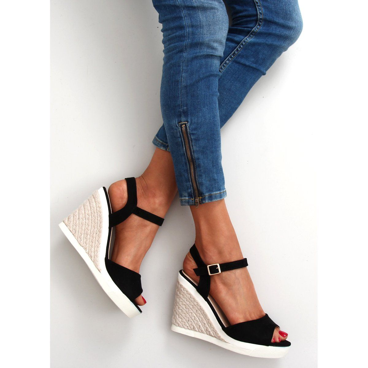 Sportowe Sandalki Na Koturnie At 0605 L Black Czarne Wedge Espadrille Espadrilles Shoes