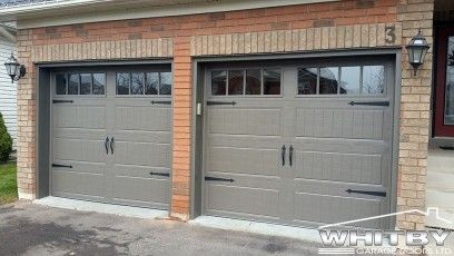 Garage Doors Clopay Long Panel Door With Long Rectangle Window In Sandstone With Spear Handle And Hinges Garage Doors Exterior Garage Door Garage Door Colors