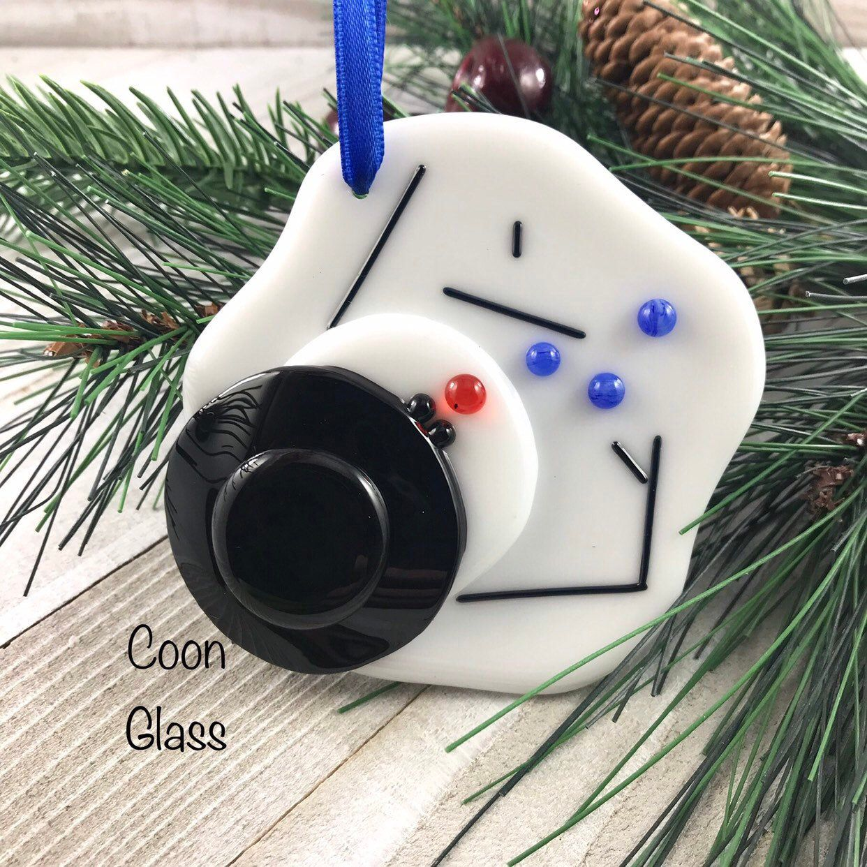 Melted Snowman Ornament, Fused Glass Snowman, Christmas