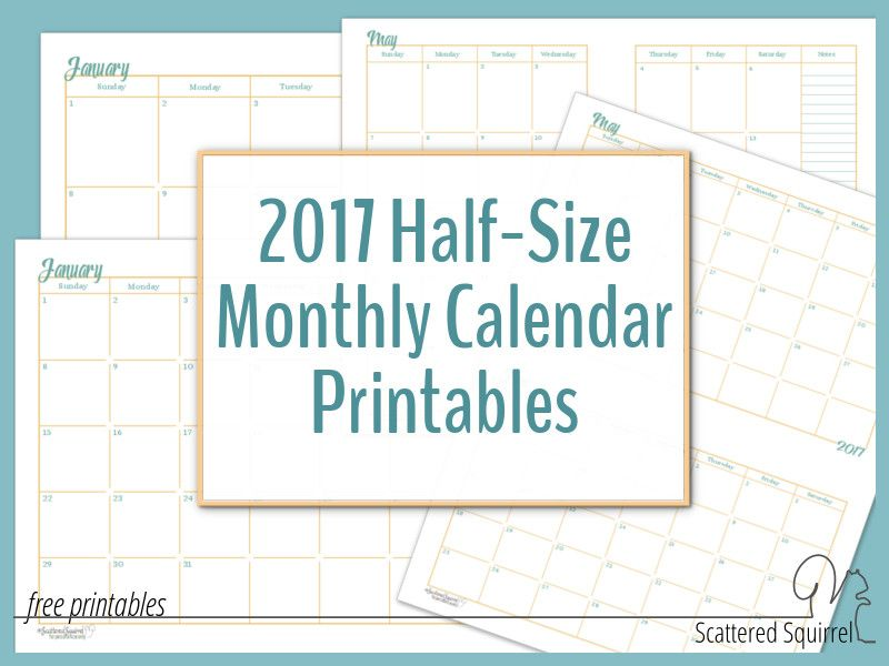 HalfSize Monthly Calendar Printables  A Planners And Free