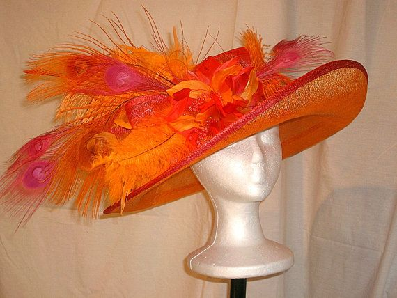 I Just Made This Gorgeous Orange And Fuschia Kentucky Derby Hat Today Award Winning Design In By Chamb Kentucky Derby Hat Orange And Fuschia Kentucky Derby
