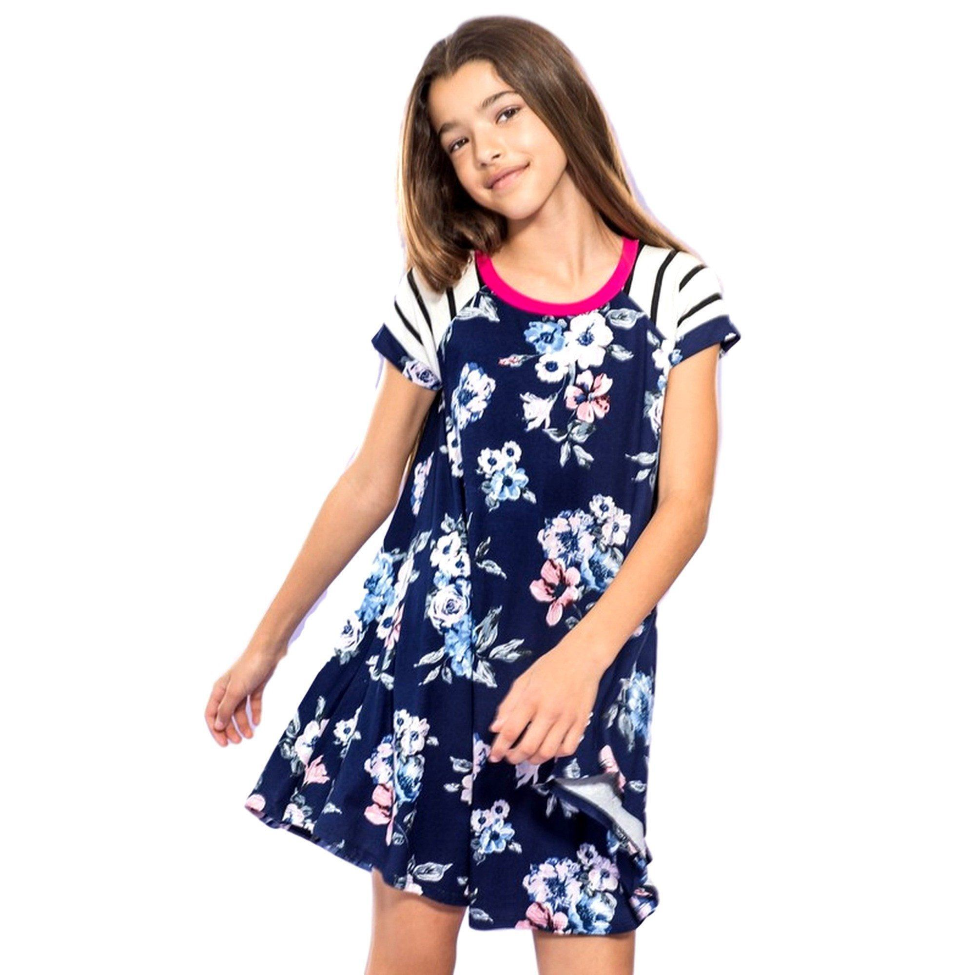 Girls floral short sleeve tunic dress navy products pinterest