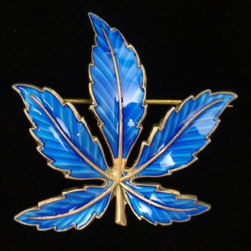 Blue Leaf Pin Vintage Sterling Silver Meldah Norway Botanical Brooch