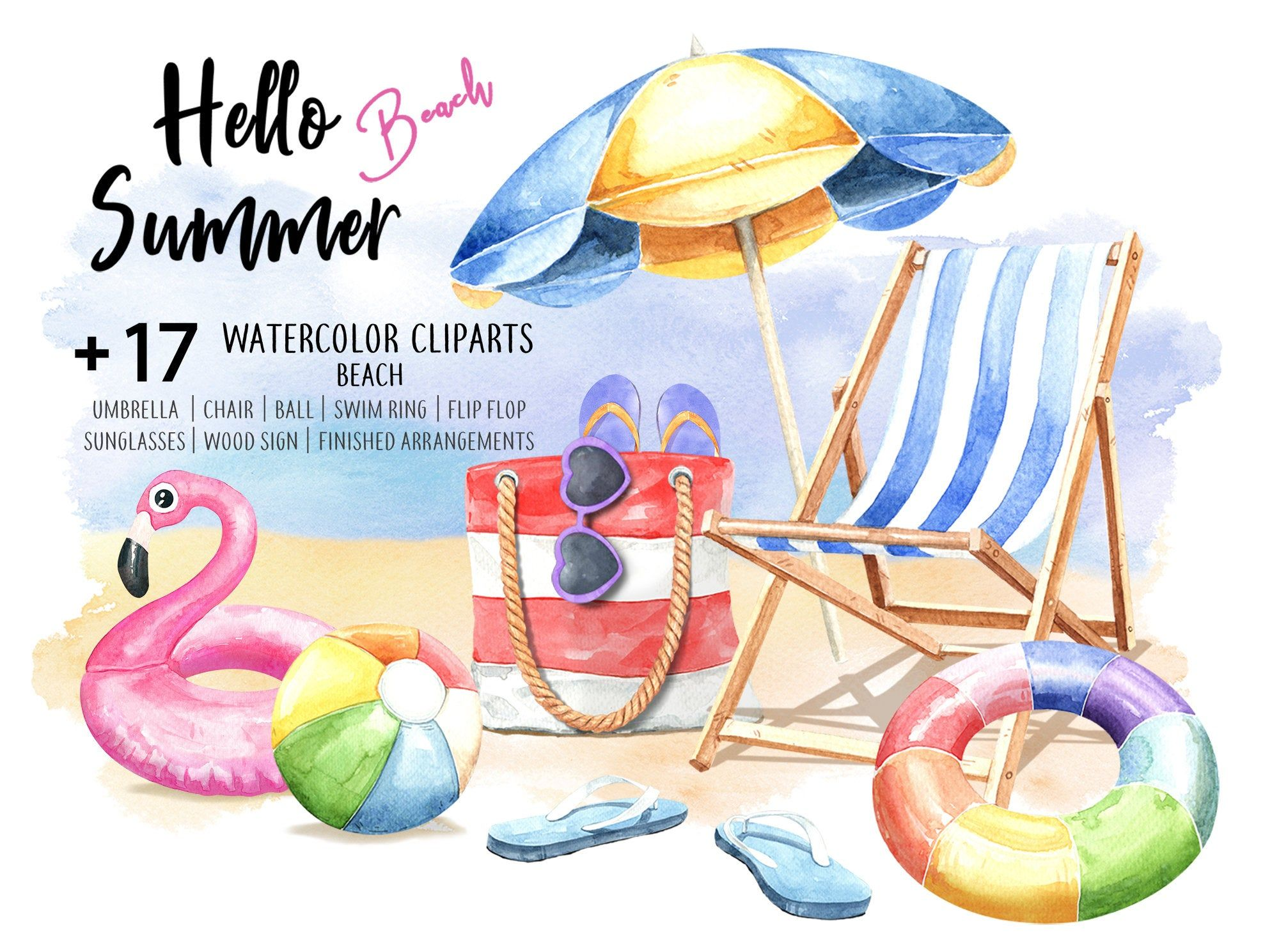 Hello Summer Beach. Watercolor Beach Umbrella, Ball, Flip