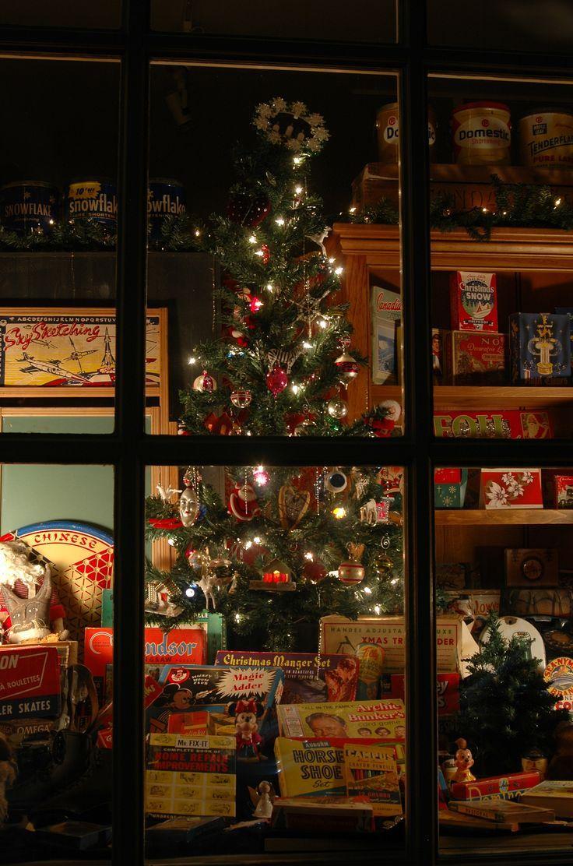 Vintage Christmas scene - tree through window - mid ...