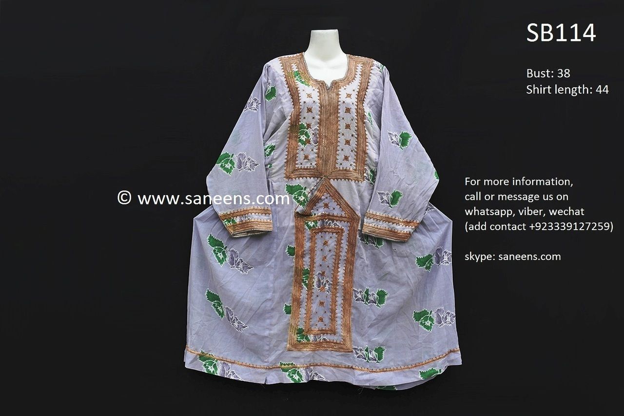 Sindh desert sun dress in gray color with balochi doch embroidery