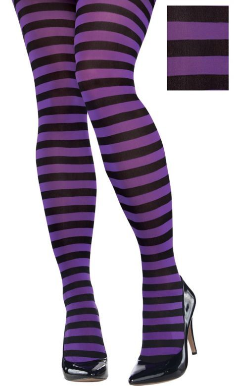 Adult Purple and Black Striped Tights Plus Size - Party City ...