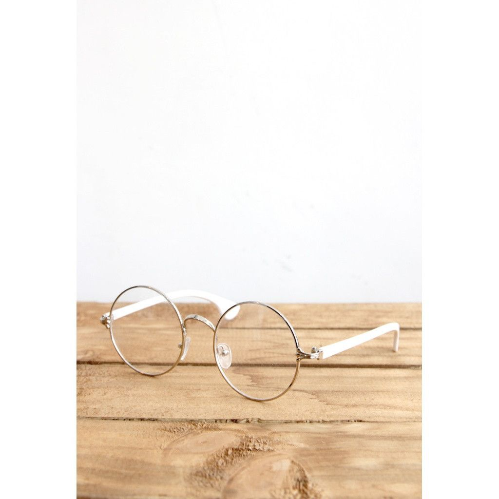 John Lennon Silver Metal Eyeglasses/ White Arms