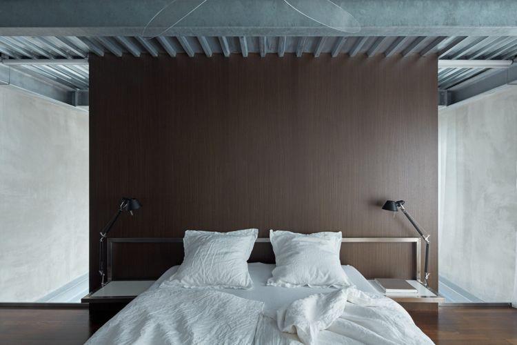 Minimalistische Einrichtung Beton Holz Schlafzimmer Decke