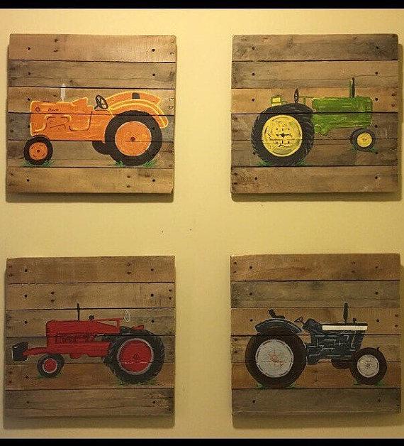 4 Piece Tractor Set4. 20x20 tractor ThemeDecor farming   Mr Ts Nest ...