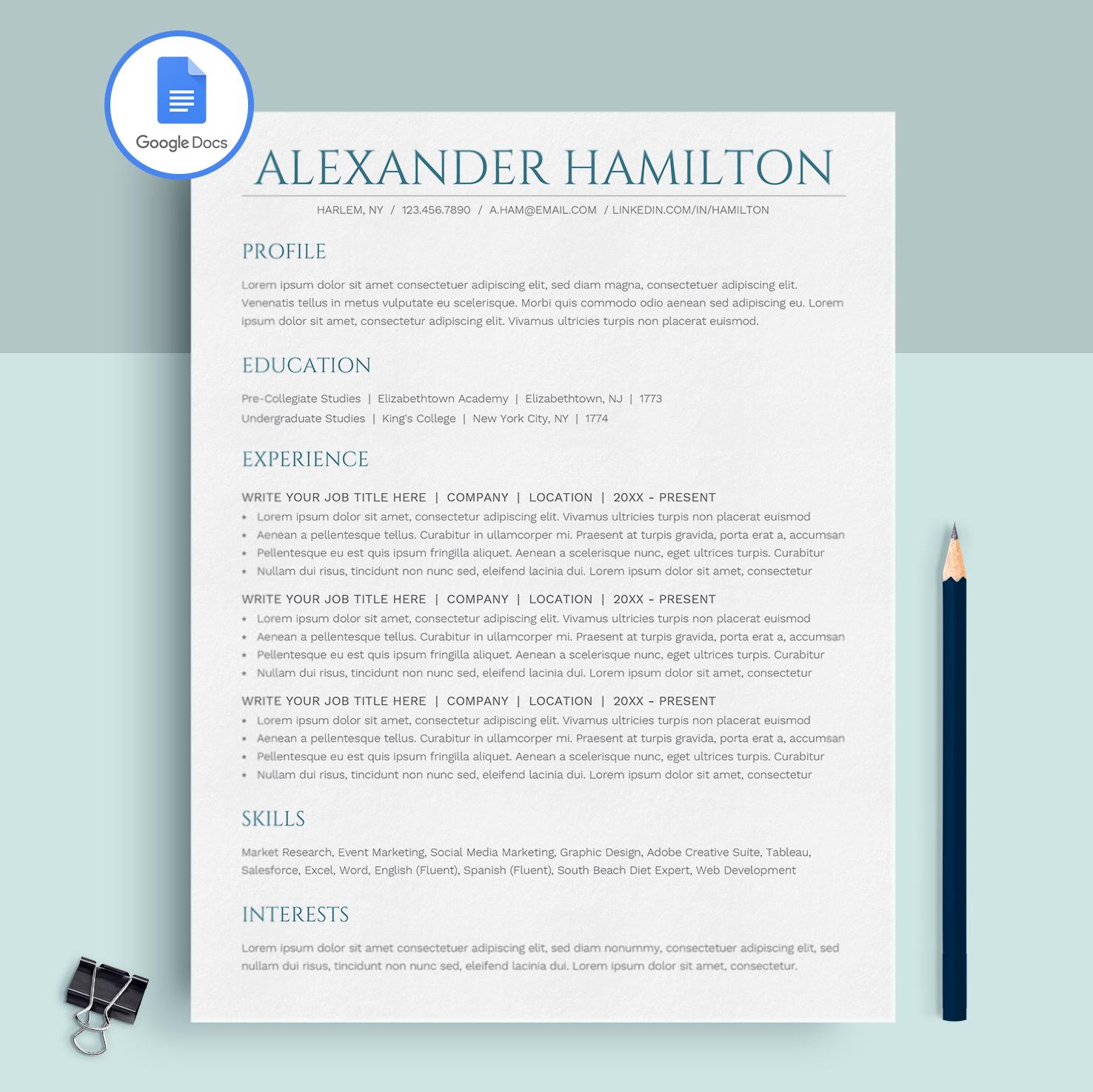 Alexander Hamilton Google Docs Resume Template CV