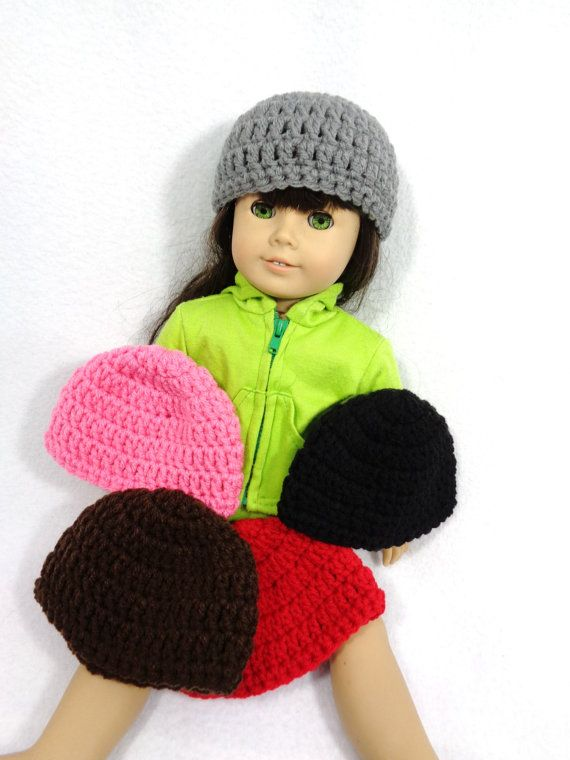 18 Inch Doll Hat, Crochet Beanie for American Girl, Winter Cap for Doll, Gift for Little Girl, Stocking Stuffer, Birthday Party Favor #dollhats
