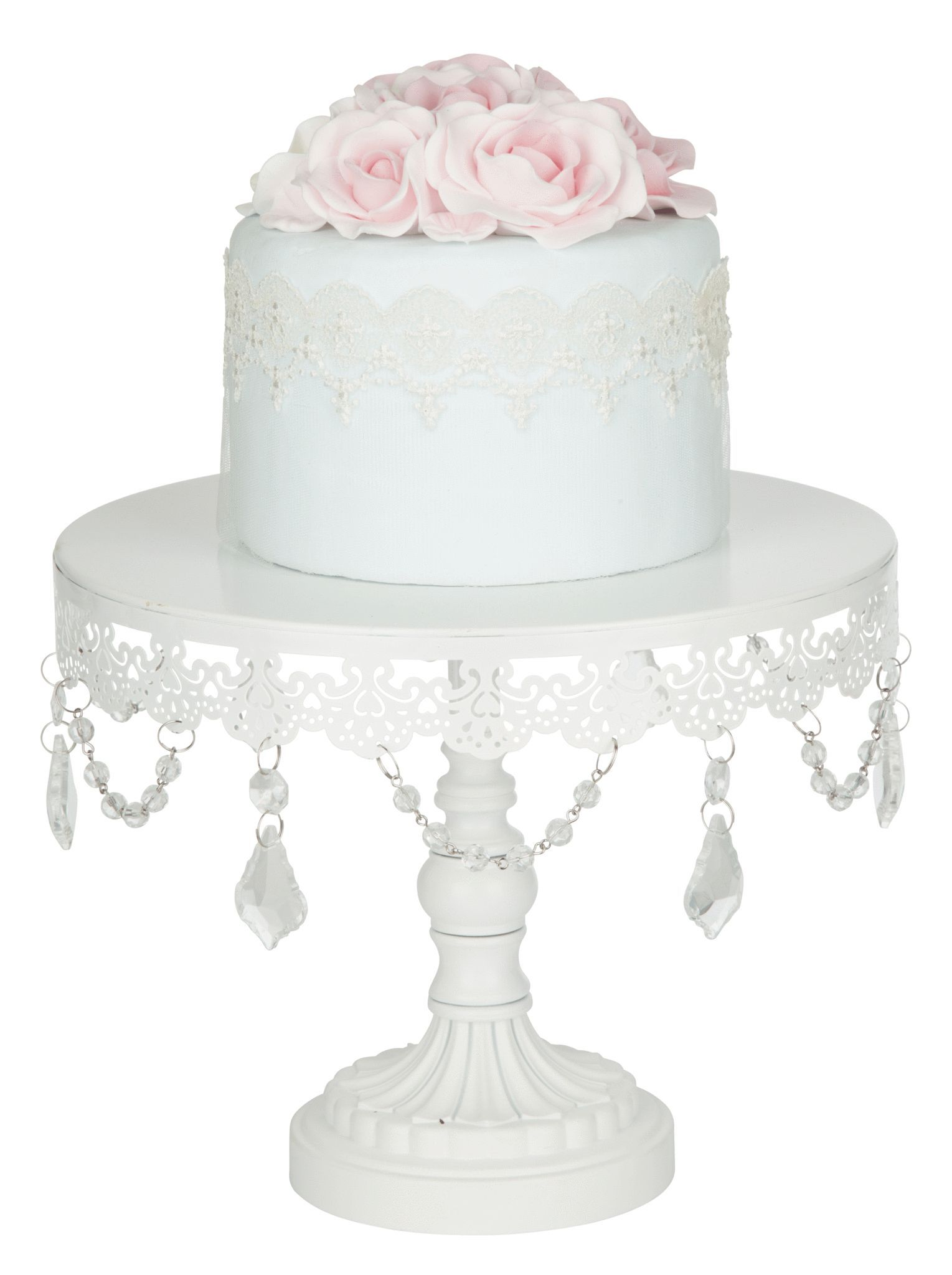 """Add a touch of elegance to any occasion with our 10"""" Crystal draped cake stand in white from our Sophia Collection! 