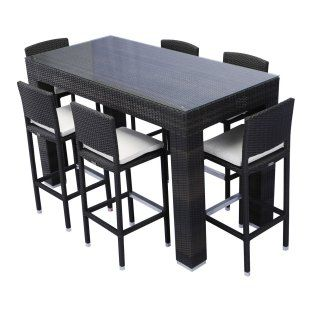 Source Outdoor Bar Height Patio Dining Set Seats My House - Bar height dining table with 6 chairs