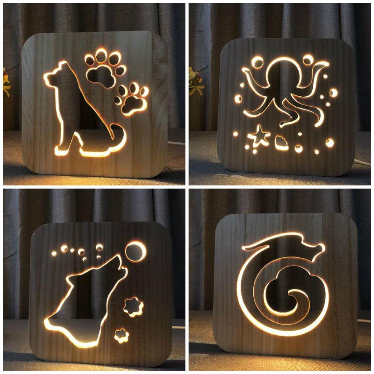 Wood Night Lamp 3d Decor Nightlight Animals Dog Wolf Octopus Dragon Decorative Led Lighting Gift For Bedroom Kid Gift Iy801101 Lampu Lampu Tidur Tidur