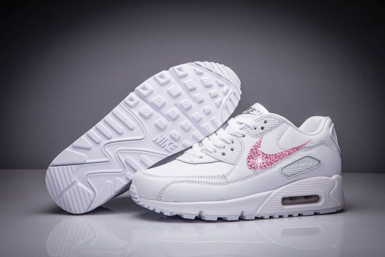 best sneakers 465f5 660dc 2016 Glitter White Nike Swarovski Crystal Swoosh Rhinestones 2016 Glitter  Air Max 90 Leather