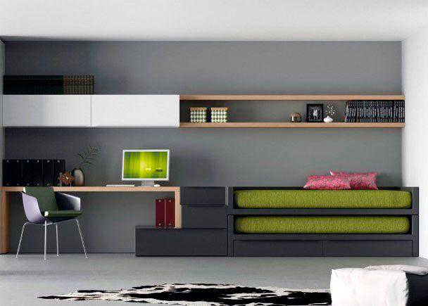 Dormitorio juvenil Juvenil minimalista con dos camas Moderna y