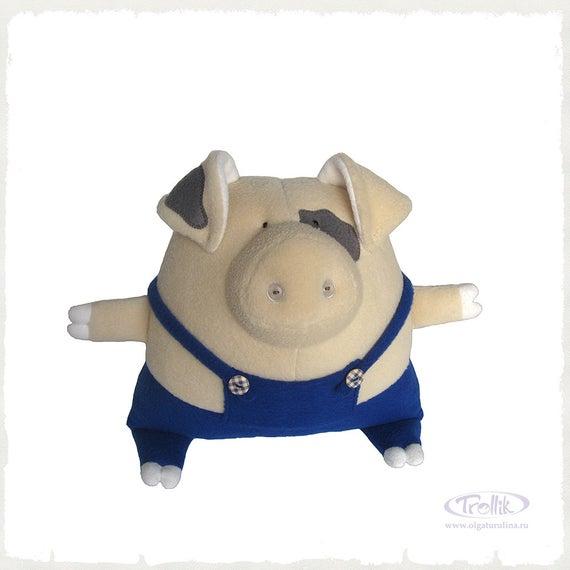 Pig plush in beige color, spotted Pig in blue pants cool baby gift